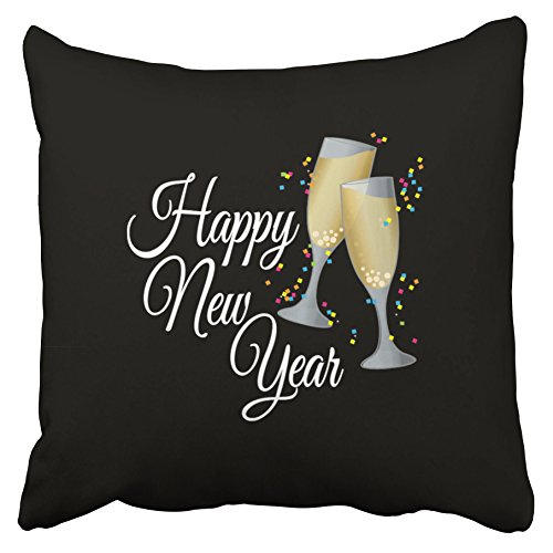 Emvency Decorative Throw Pillow Covers Happy New Year With Champagne Confetti Christmas New Year 18x18 Inches(45x45cm) One Side Square Pillowcases Cases Decor Couch Sofa