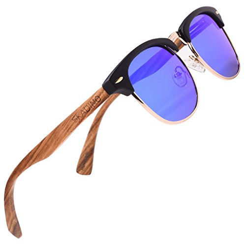 SKADINO Bamboo Wood Sunglasses for Women&Men with Polarized Lens-Blue Mirror - Tortoise Clubmaster Sunglasses Shell