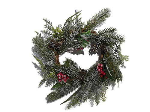 JMB Christmas Snow Pine Cypress Wreath with Red Berry Clusters & Mini-Pinecones ()