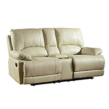 Blackjack Furniture 9345-BEIGE-CL The Brantley Collection Leather Console Loveseat for the Living Room, Brown