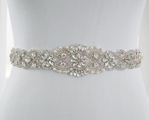 ShiDianYi Crystal Pearl Wedding Bridal Dress Sash Belt = 17 1/2 Long