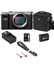 $1798 » Sony Alpha 7C Mirrorless Digital Camera, Silver (Body Only), Bundle with Bag, 128GB SD Card, Extra Battery, Compact Charger, Wrist Strap