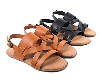 BAMBOO Open-Toe Women Strappy Gladiator Slingback Buckle Closure Sandals