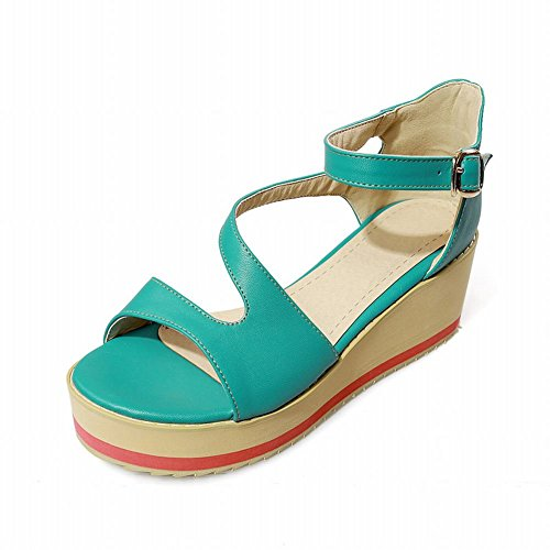 Carolbar Casual Dames Gesp Sweet Fashion Cute Comfort Lovely Plateau Sandalen Groen
