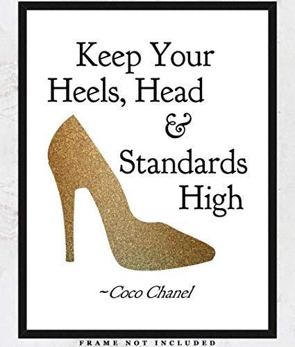 Keep Your Heels, Head & Standards High Motivational Art Print: Unique Room Decor for Girls & Women - (11x14) Unframed Picture - Great Gift Idea Under $15