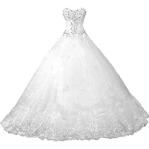 - Chady Sweetheart Lace Rhinestone Plus Size Wedding Dresses Ball Gowns 2018 Court Train Wedding Gowns Tulle Bridal Dress White