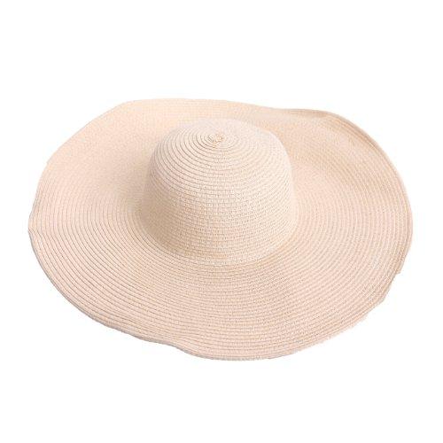 HDE Women's Floppy Packable Wide Brim Sun Shade Derby Beach Straw Hat (Beige)