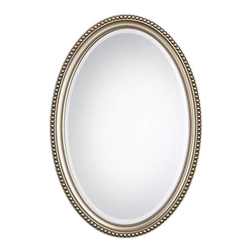 Zinc Decor Grace Beaded Silver Oval Wall -