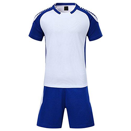 ティッシュ広がり大宇宙KINDOYO メンズ&ボーイズ半袖サッカーシャツ+サッカーショーツ、サッカーキット、吸汗速乾 (ホワイト,3XS)