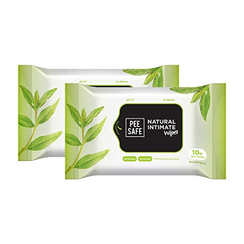 PEESAFE Natural Intimate Wipes, 10 Pack (Set of 2)