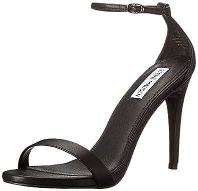 Steve Madden Women's Stecy Dress Sandal, Black Smooth, 5 M US