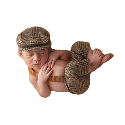 Coberllus Newborn Monthly Baby Photo Props Stripe Cool Boys Cap Rompers Photography ()