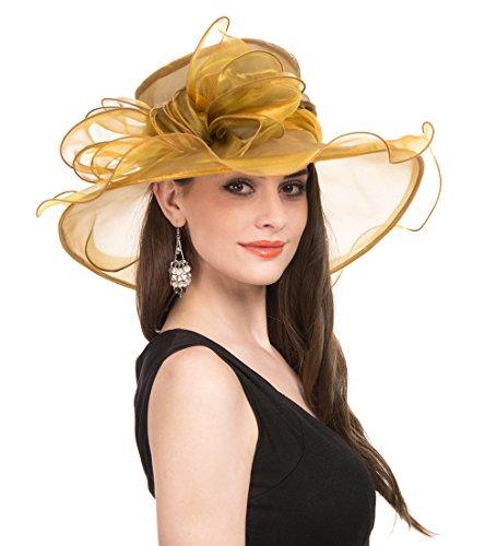 SAFERIN Women Wedding Dress Kentucky Derby Church Dress Organza Hat Wide Brim Flat Hat with Ruffled Bow Gold