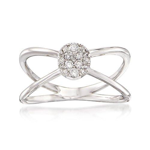 Ross-Simons 0.20 ct. t.w. Diamond Crisscross Ring in 14kt White Gold
