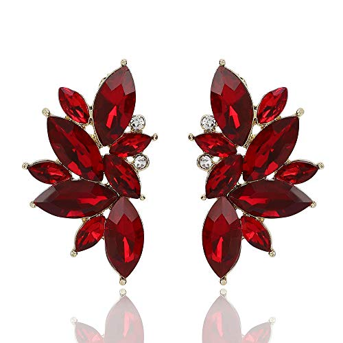 Shining Diva Fashion Latest Design Stylish Traditional Party Wear Crystal Stud Earrings for Women (Red) (11097er)