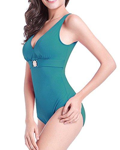 Profondo Monokini Donna Intero Bagno Moollyfox Cutout Da Costume Verde Buio Capestro Imbottito Scollo AwqfB4