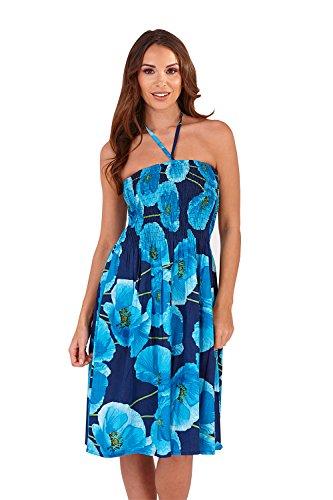 6c439c948fe7 ... pistachio Damen 3 in 1 Mohnblumen Bedrucktes Kleid Neckholder Bandeau  Rock Blau j7gdl ...