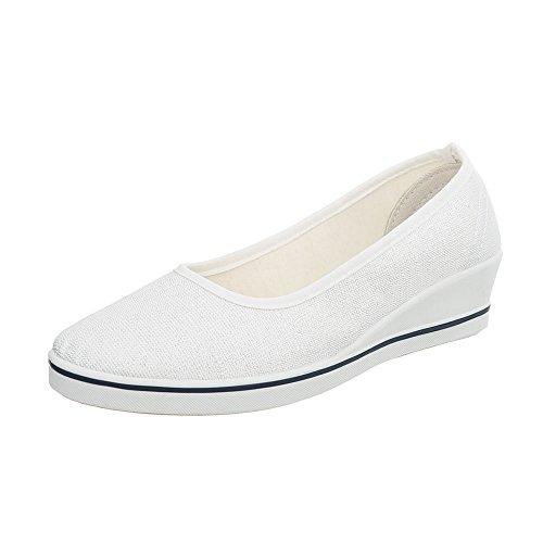 Ital-Design Women's Loafer Flats Wedge Heel Slippers White Zy1709 rIhHQnb