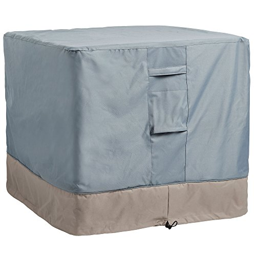 VonHaus Square Air Conditioning Cover - 'The Storm Collection' Premium Heavy Duty Waterproof Outdoor Protection - Slate Gray with Beige Trim L34 x W34 x H30 inches