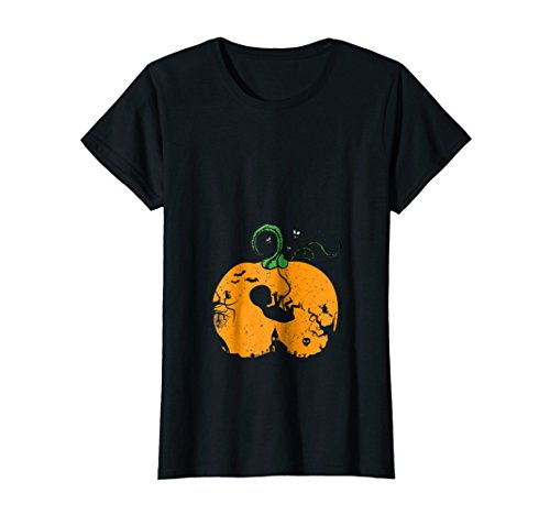 Womens Halloween Pregnancy Announcement T-Shirt Small