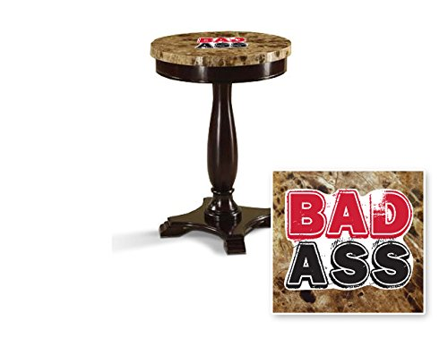 New Round Top Espresso / Cappuccino Finish Night Stand End Table with Faux Marble Table Top featuring Badass Theme