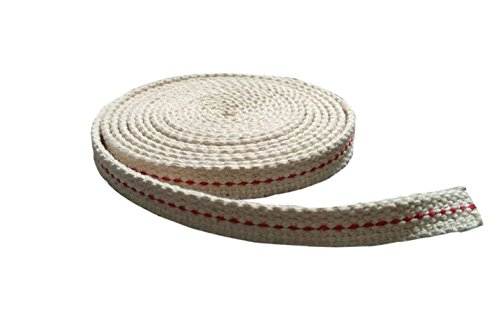 Mr.Garden 3/8 inch 100% Cotton Flat Wick for Paraffin Oil or Kerosene based Lanterns Genuine Red Stitch, 8 Foot Roll