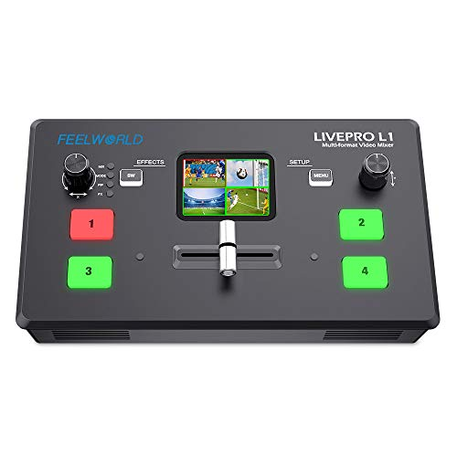 FEELWORLD LIVEPRO L1 V1 Multi-Format Video Mixer Switcher 4 x HDMI Inputs USB 3.0 Multi Camera Production Real Time Live Streaming Lightweight Heat Dissipation
