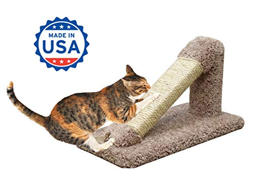 CozyCatFurniture Incline Cat Scratcher | Made in USA | Solid Wood Cat Scratching Post | Unoiled Sisal Rope & Thick Carpet | Brown Color