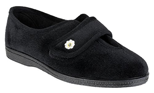 8 4 Mirak Lined Nero Fastened Beige Slippers 7 Touch 5 Ladies 6 Size 3 Textile OzOrq1wZ