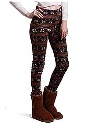 HDE Women Winter Knit Leggings Fleece Line Nordic Design Thermal Insulated Pants