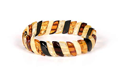 AMBERAGE Natural Baltic Amber Stretch Bracelet for Women - Hand Made from Polished/Certified Baltic Amber Beads(Multi)