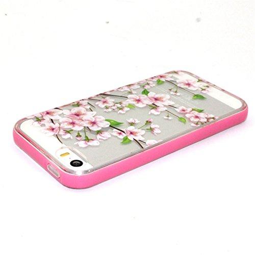 5S Coque, iPhone 5S Coque, Lifeturt [ Fleur de pêche ] Etui Transparent élégant TPU Gel Coque Silicone Shell Housse 3D Case Cover Motif Impression Creative Ultra Mince Cas Sac Skin Protection Shell Pr