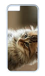 MOKSHOP Adorable cute fluffy cat Hard Case Protective Shell Cell Phone Cover For Apple Iphone 6 Plus (5.5 Inch) - PC White