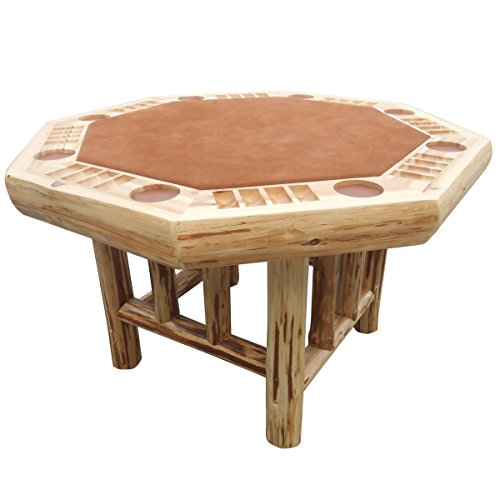 Rush Creek Creations Rustic Log 8 Player Octagon Poker Table