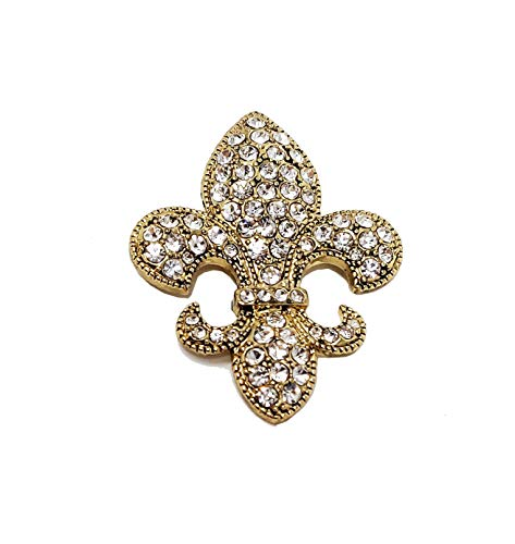 - Fleur-de-lis Pin Brooch Pendant Dual Use Gold Large Crystals for Her Women Mom