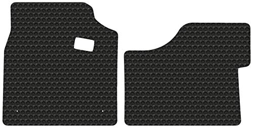 (Peterbilt 579 - Black Rubbertite All-Weather Floor Mats by Lloyd's - 2 Piece Cab Fronts - Fits 2013-2019)