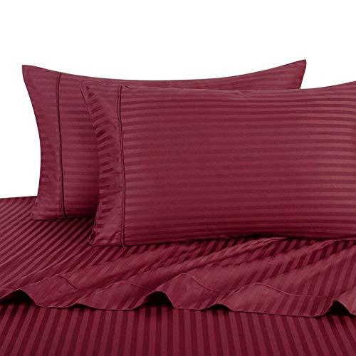 (Luxury Ultra Soft 100% Egyptian Cotton 300 Thread Count Sateen Stripe Damask Sheet Set, Deep Pockets (18