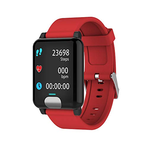 (FD Izmn-electronic E04 ECG+PPG Smart Watch Wristband Band Bracelet Heart Rate Monitor Fitness Tracker (RED))