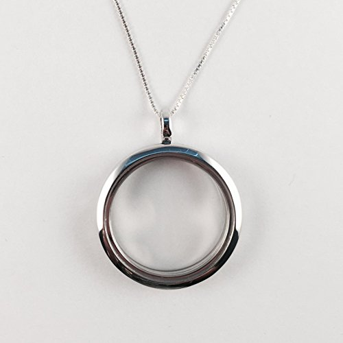 Floating Locket- Sterling Silver-30mm Polished Face-Memory-Only .925 Glass Charm Locket on Amazon