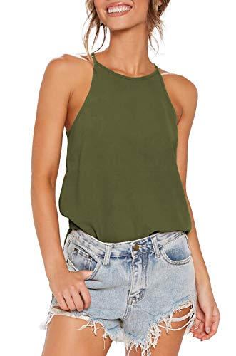 THANTH Womens Tops Halter Sleeveless Tank Tops Sexy High Neck Summer Cami Tops Spaghetti Strap Shirts Casual Racerback Tops Basic Cute Junior Shirts Tops Blouses Olive - Top Halter Maternity