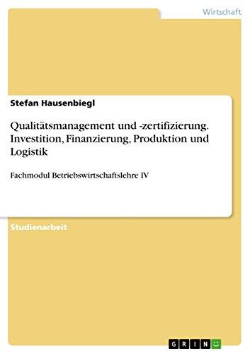 Amazon.com: Qualitätsmanagement und -zertifizierung. Investition ...