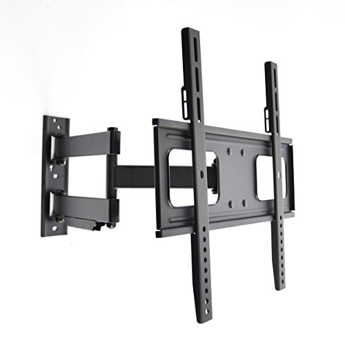 Articulating Curved and Flat Panel Single Stud TV Wall Mount for 32-55 Inch Screens Vesa Compatibility 200x200 400x200 300x300 400x400 (Single Panel Flat Small)