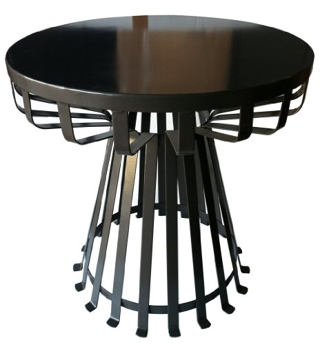 Pangaea Home and Garden Flat Iron Base Side Table - Solid metal table top Unique slatted metal base design The diameter of the table top is 20-inch. the table is 20-inch high - patio-tables, patio-furniture, patio - 41HIxUndr4L -