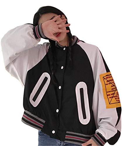 Manga Baseball Cremallera Bolsillos Primavera Splice Festivo Coat Cazadoras Vintage Larga Chaqueta Otoño Mujer Schwarz Abrigos Botonadura Outerwear Ropa Elegantes Laterales Con Moda Pw44pd