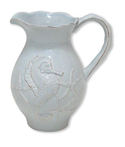 Blue Sky Ceramic Seahorse Pitcher, 7.5 x 5.5 x 8.5, Blue