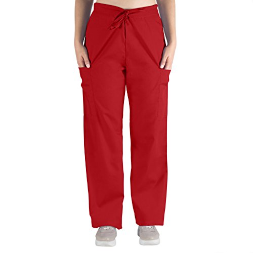 Nurse Scrubs for Men & Women: Unisex Medical Nursing Pants 2 Cargo Pockets 2XL Red -
