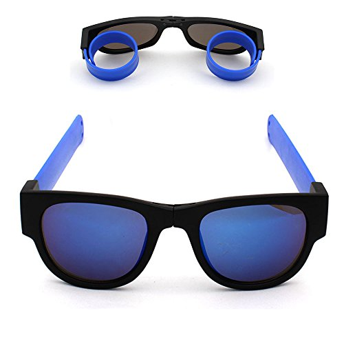 Price comparison product image Foldable Sunglasses Polarized Lenses Flexible Silicone Frame and Temples with a Case (mirror blue)