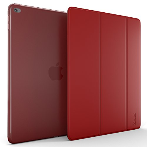 Zeox iPad Air 2 Case (2014 release) - Slim Ultra Lightweight Stand Smart Protective Cover with Transparent Anti Fingerprint Back Protector & Auto Sleep / Wake Feature for Apple iPad Air 2 - Red by ZEOX