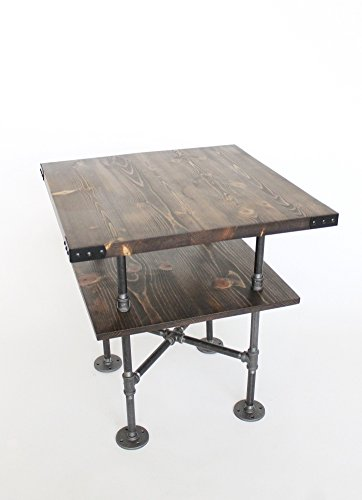 Rustic Pipe End Table, 18u0026quot; Square, Night Stand, Rustic Side Table With