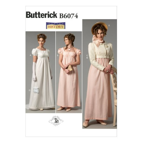 Jane Austen Fabric - Butterick Patterns B6074 Misses' Dress, Jacket, Purse and Hat Trim Sewing Template, Size A5 (6-8-10-12-14)